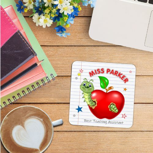 Personalised Coaster N25 - School Teacher Thank you Gift -  Wine Tea Coffee Drinks Mat (1)